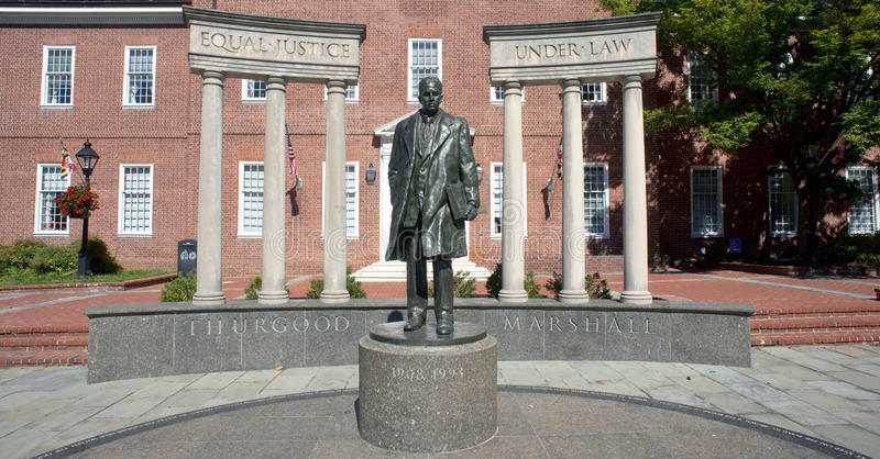 Thurgood Marshall Statue. Annapolis Maryland - Sept. 25,2016 US Supreme Court justice Thurgood Marshall statue with Equal Justice Under Law carved inscription stock images