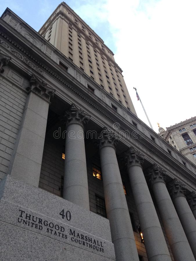 Thurgood Marshall United States Courthouse in Manhattan. Thurgood Marshall United States Courthouse in Manhattan in New York, NY royalty free stock photo