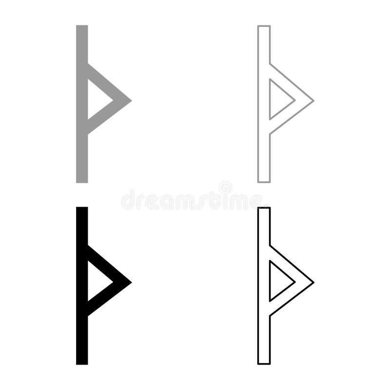 Thurisaz rune Tpurizas Tor ikony setu koloru ilustracji konturu mieszkania Cierniowego popielatego czarnego stylu prosty wizerune royalty ilustracja