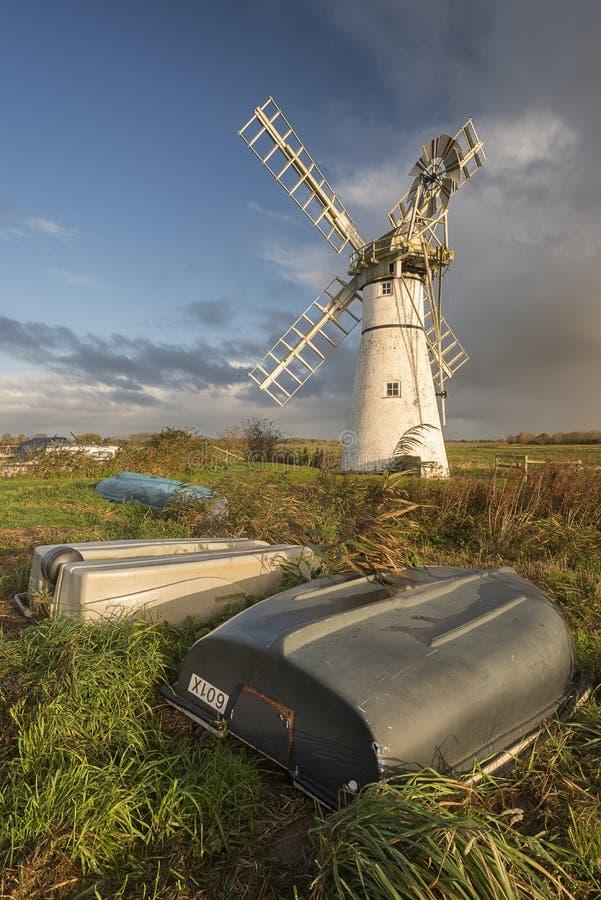 Thurne-Windmühle auf den Norfolk-broads stockfoto