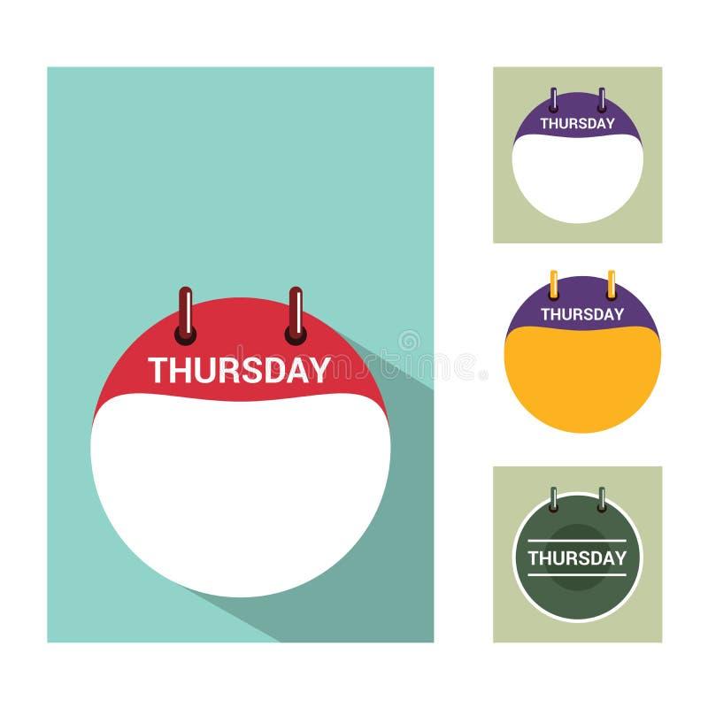 Thursday calendar flat design with color options vector illustration