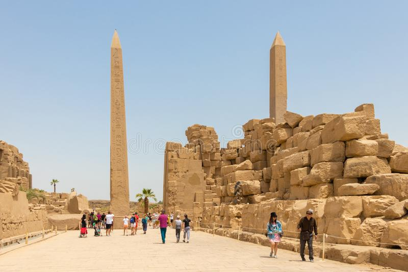 Thutmose 1st Obelisk en Koningin Hatshepsut Obelisk in Amun-Tempel, Karnak, Luxor royalty-vrije stock afbeeldingen