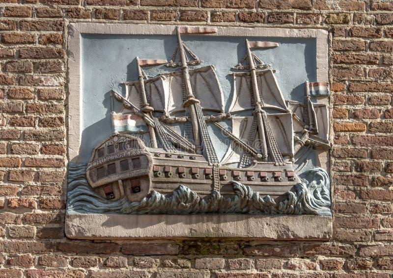 Thuystvreest 1745 Gable Stone, Amsterdam, Nederländerna arkivbilder