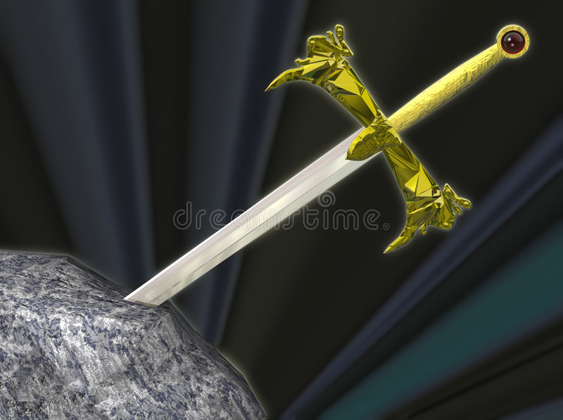 Thw sword in the stone royalty free illustration