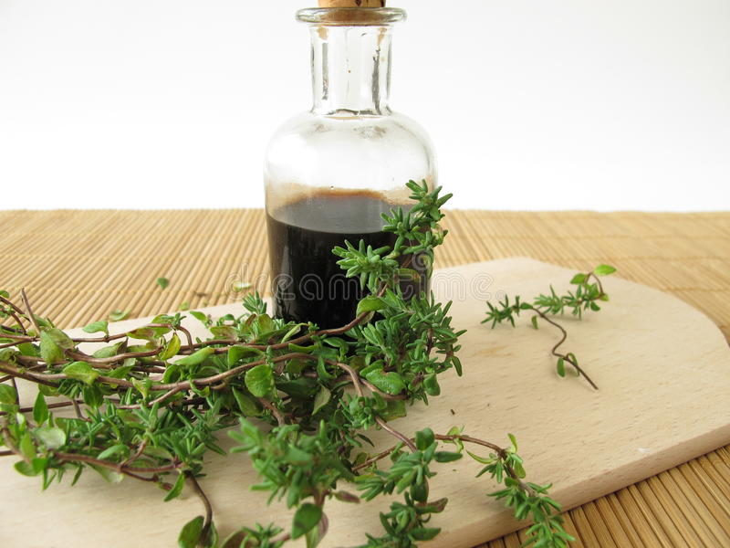 Thyme syrup. In bottle and fresh herbs stock images
