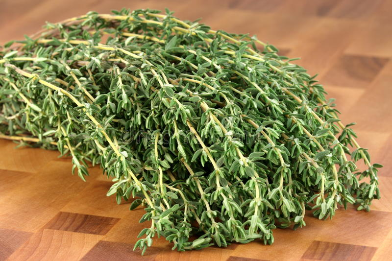 Download Thyme On Wood Cutting Board Royalty Free Stock Images - Image: 16271489