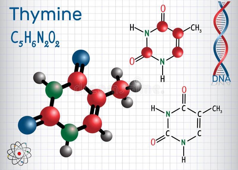 Thymine ton - nucleobase de pyrimidine, fondamental illustration libre de droits