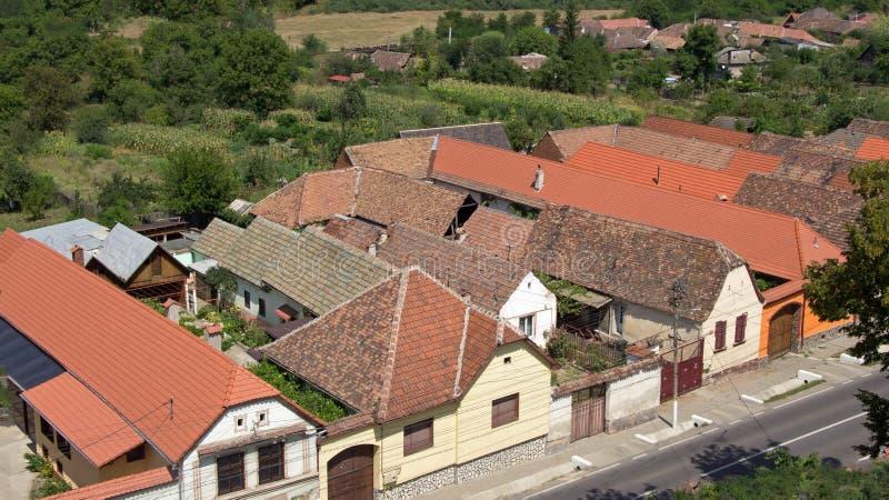 Saxon farm houses of Axente Sever in Romania. Thypical romanian houses in Saxon village Axente Sever or Frauendorf in Transsylvania royalty free stock photography