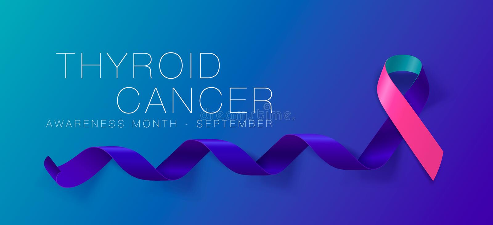 Thyroid Cancer Awareness Calligraphy Poster Design. Realistic Teal and Pink and Blue Ribbon. September is Cancer Awareness Month. vector illustration