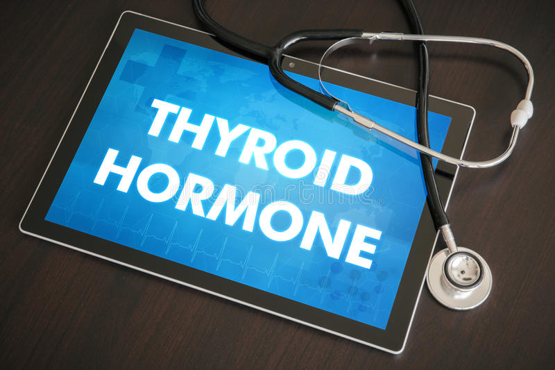 Thyroid hormone (endocrine disease) diagnosis medical concept on. Tablet screen with stethoscope royalty free stock image