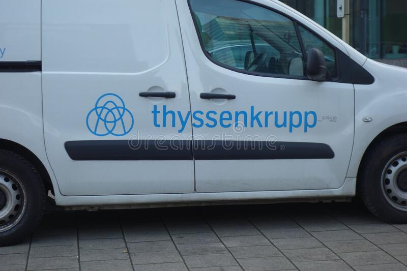 Thyssenkrupp logo. Brussels, Belgium - December 24, 2019: Sign of the German company thyssenkrupp on a van, multinational conglomerate with focus on industrial stock images
