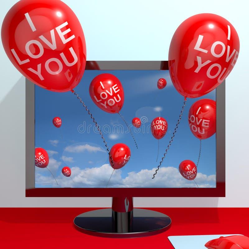 Ti amo aerostati dallo schermo di computer illustrazione di stock