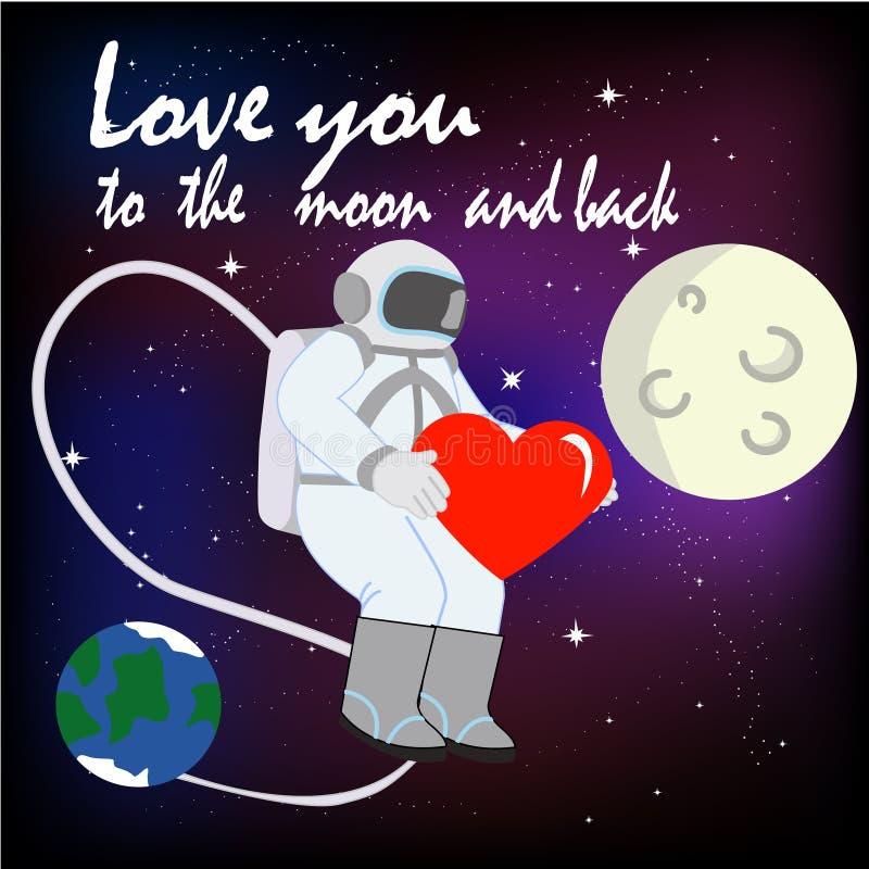 Ti amo alla luna ed alla parte posteriore con l'astronauta fotografie stock