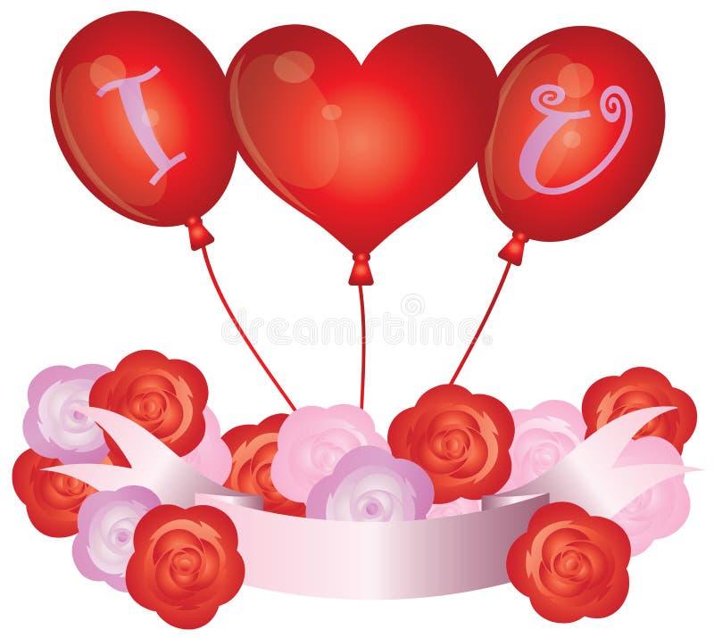 Ti amo Balloons l'illustrazione illustrazione vettoriale