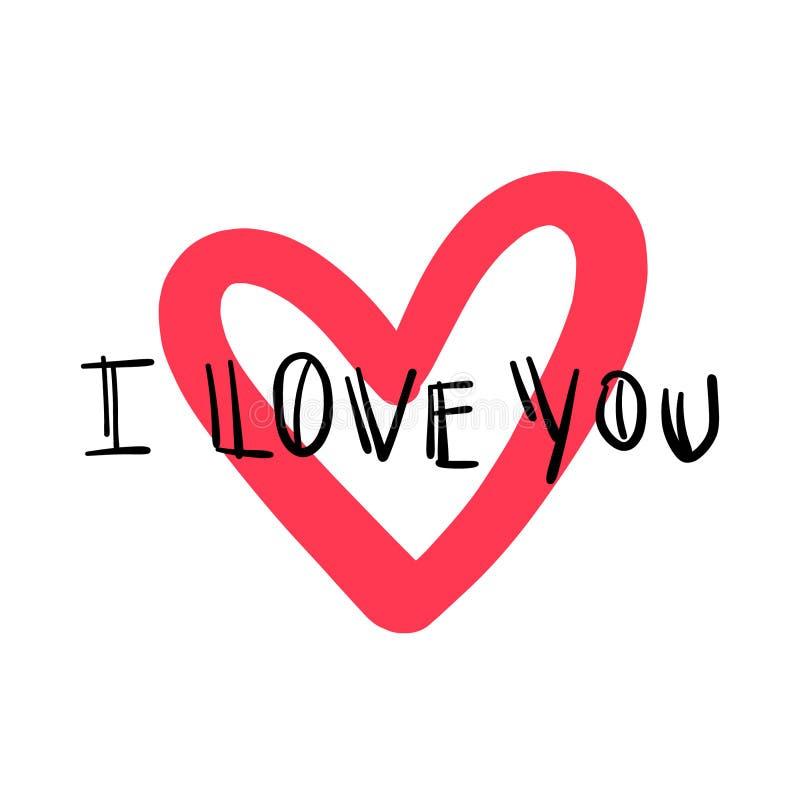 Ti amo carta di giorno di biglietti di S. Valentino disegnata a mano Illustrazione di vettore immagini stock libere da diritti