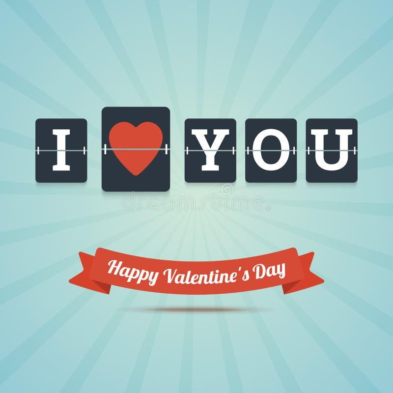 Ti amo - cartolina d'auguri felice di San Valentino illustrazione di stock