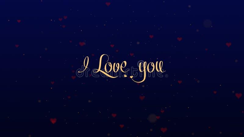 Ti amo confessione di amore Iscrizione di San Valentino, isolata su fondo blu, che bedecked con piccolo sveglio fotografia stock libera da diritti