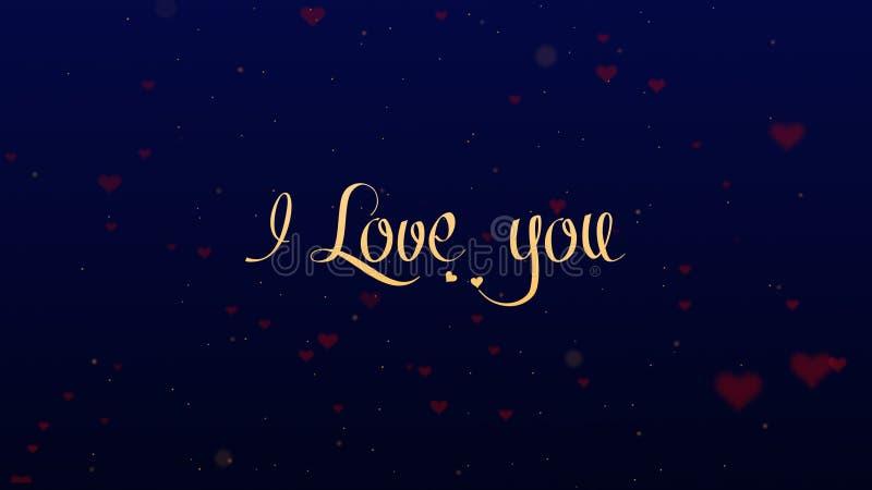 Ti amo confessione di amore Iscrizione di San Valentino, isolata su fondo blu, che bedecked con piccolo sveglio fotografia stock