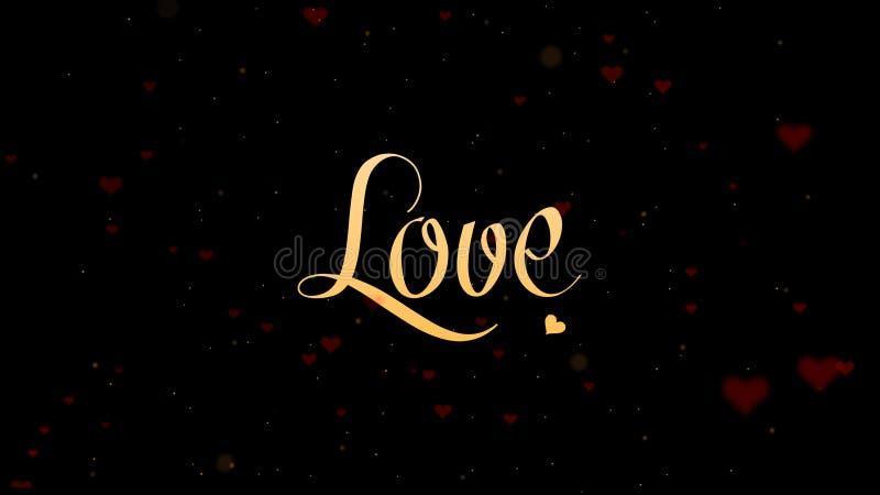 Ti amo confessione di amore Iscrizione di San Valentino, isolata su fondo nero, che bedecked con piccolo immagini stock