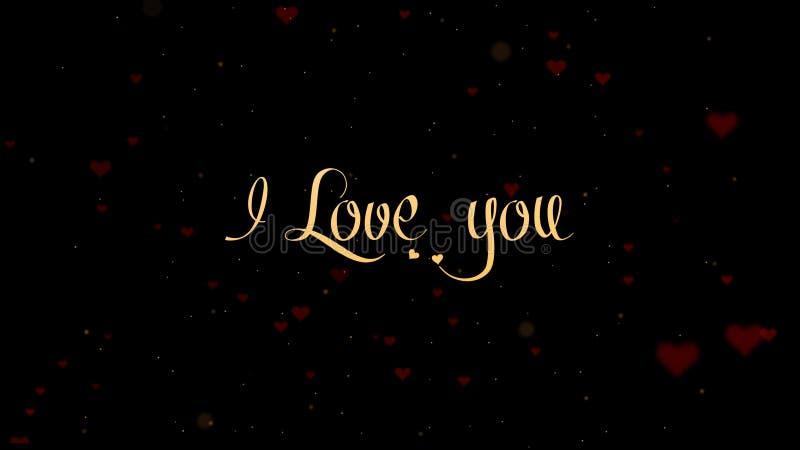 Ti amo confessione di amore Iscrizione di San Valentino, isolata su fondo nero, che bedecked con piccolo sveglio fotografia stock