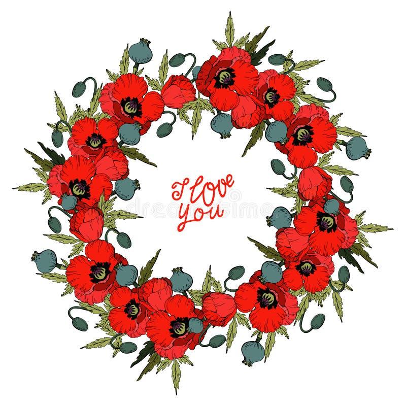 Ti amo, corona dei fiori rossi del papavero isolati sull'iscrizione di disegno bianca della mano e del fondo, vettore royalty illustrazione gratis