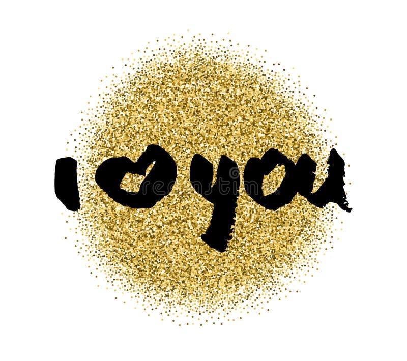 Ti amo Cuore Carta di scintillio di calligrafia di giorno di biglietti di S. Valentino Elementi disegnati a mano di disegno Iscri royalty illustrazione gratis