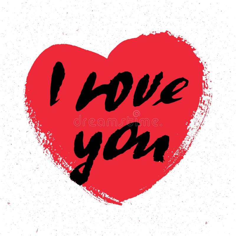 Ti amo Cuore Cartolina d'auguri di giorno di biglietti di S. Valentino con la calligrafia Elementi disegnati a mano di disegno Is illustrazione di stock