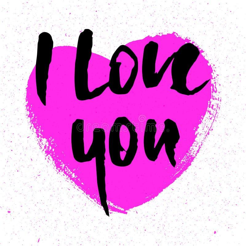 Ti amo Cuore Cartolina d'auguri di giorno di biglietti di S. Valentino con la calligrafia Elementi disegnati a mano di disegno Is illustrazione vettoriale