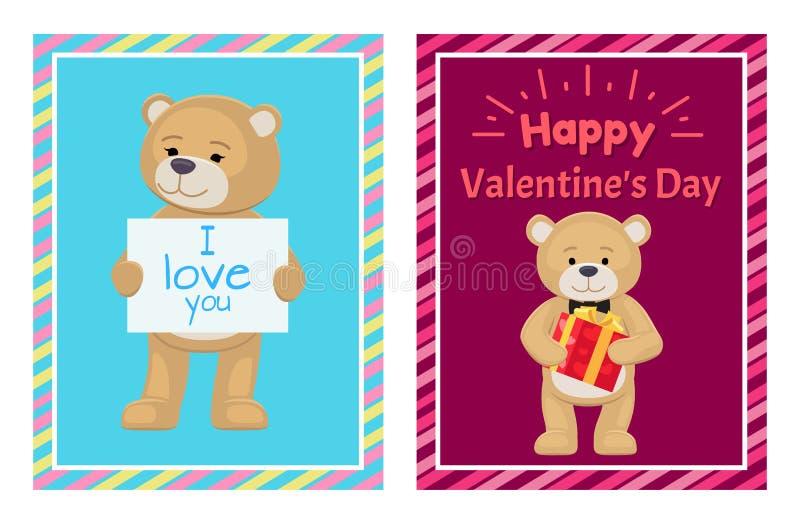 Ti amo e me Teddy Bears Vector illustrazione di stock