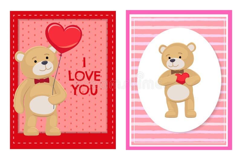 Ti amo e me Teddy Bears Vector illustrazione vettoriale