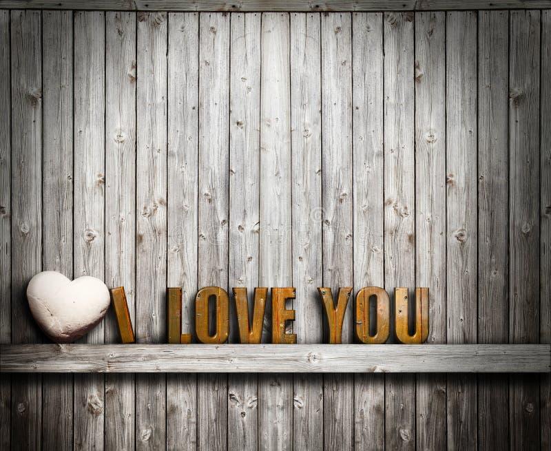 Ti amo giorno di biglietti di S. Valentino Pietra del cuore e del testo su fondo di legno immagini stock