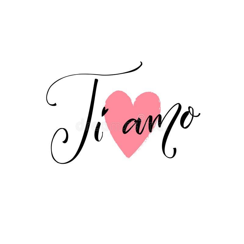 Ti amo i love you in italian language modern calligraphy