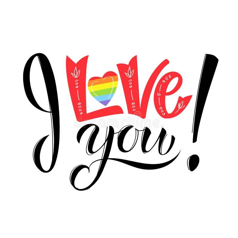 Ti amo iscrizione gay Manifesto concettuale con l'iscrizione della mano dell'arcobaleno di LGBT Frase scritta a mano di scintilli illustrazione vettoriale