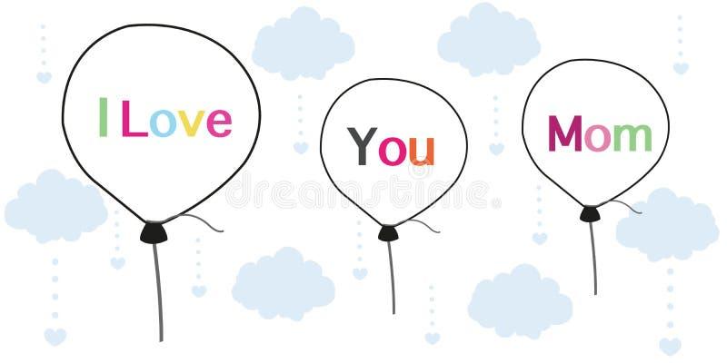 Ti amo la mamma sulla cartolina d'auguri di festa della Mamma ha stampato il fondo di vettore dei palloni illustrazione di stock