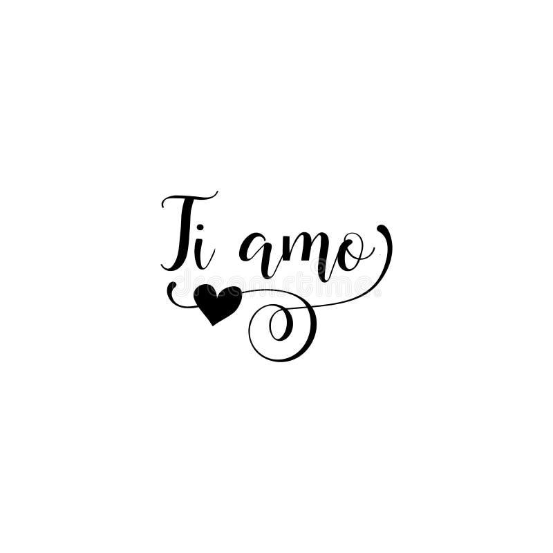Love In Italian Translation: I Love You Text In Italian Ti Amo On White Background