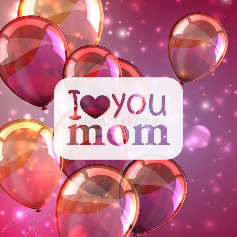 Ti amo mamma Fondo astratto di festa con le scintille ed i palloni Concetto di giorno di madri illustrazione di stock