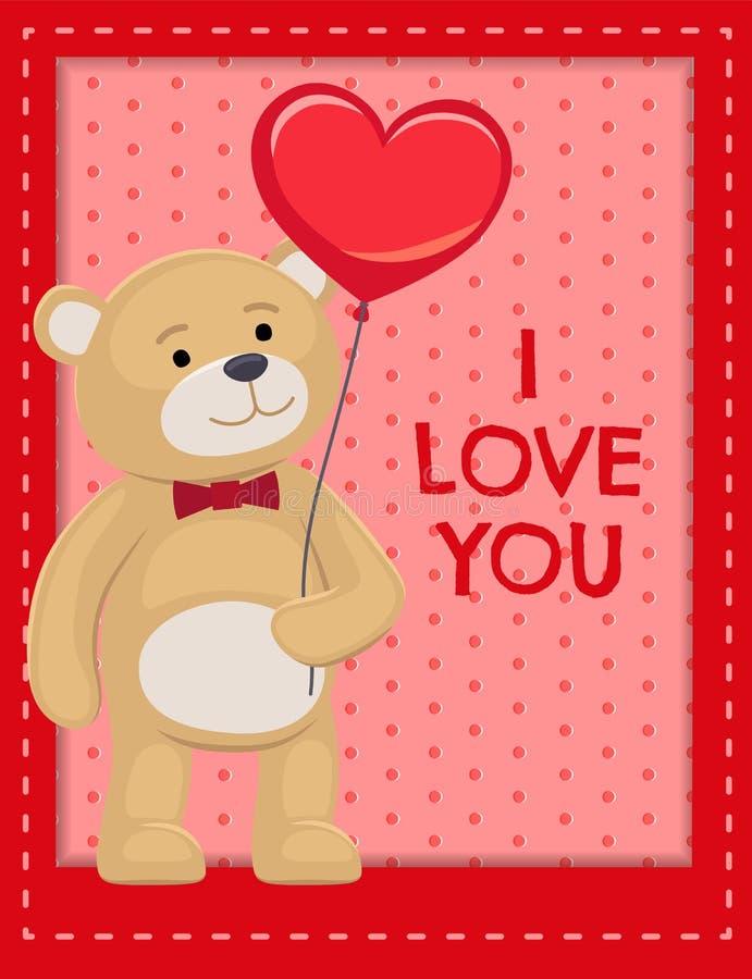 Ti amo manifesto Teddy Cute Bear Animal adorabile royalty illustrazione gratis