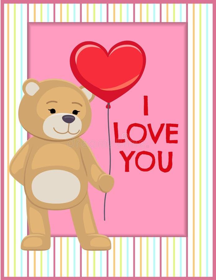 Ti amo manifesto Teddy Gently Hold Heart adorabile illustrazione vettoriale