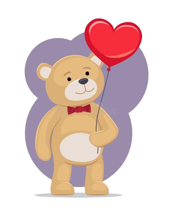 Ti amo manifesto Teddy Gently Hold Heart adorabile royalty illustrazione gratis