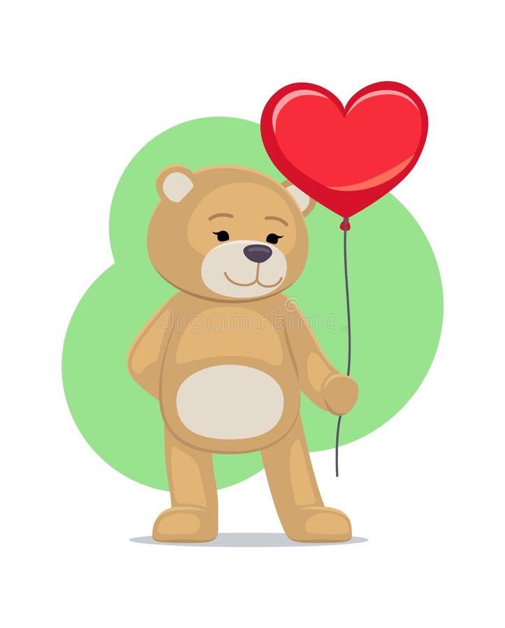 Ti amo manifesto Teddy Gently Hold Heart adorabile illustrazione di stock