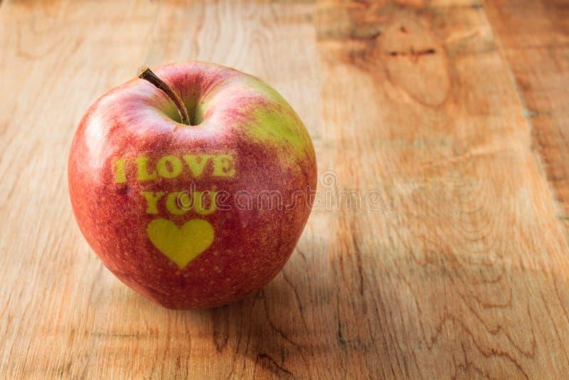 Ti amo mela immagine stock