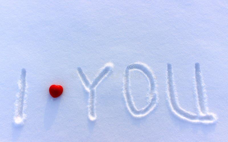 Ti amo nella neve fotografia stock libera da diritti