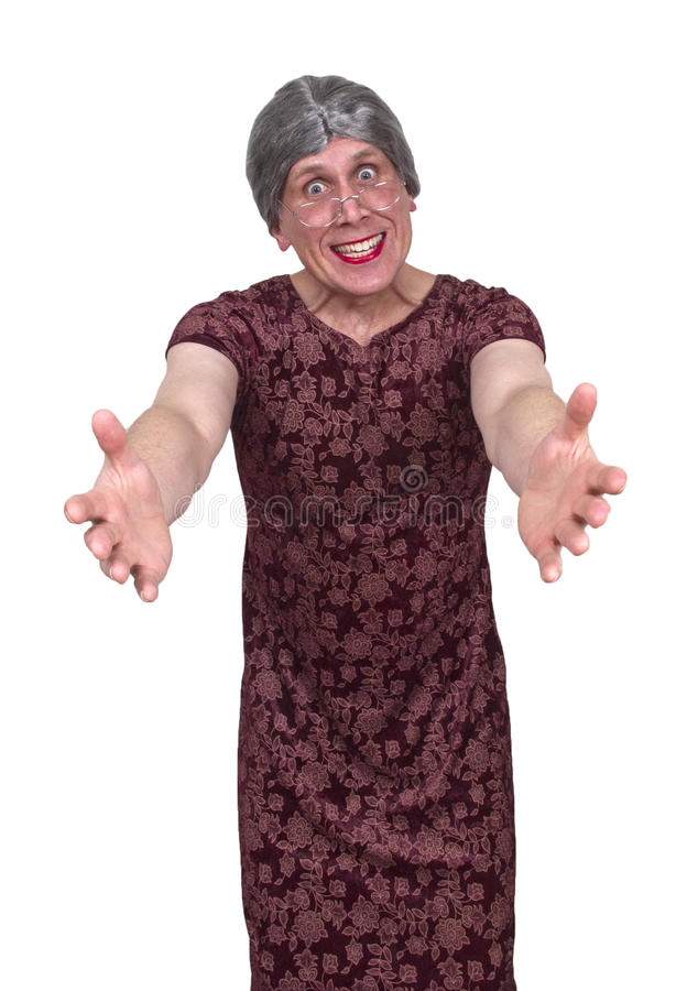 Tia da avó feia engraçada ou da empregada doméstica idosa, Hug e amor fotografia de stock