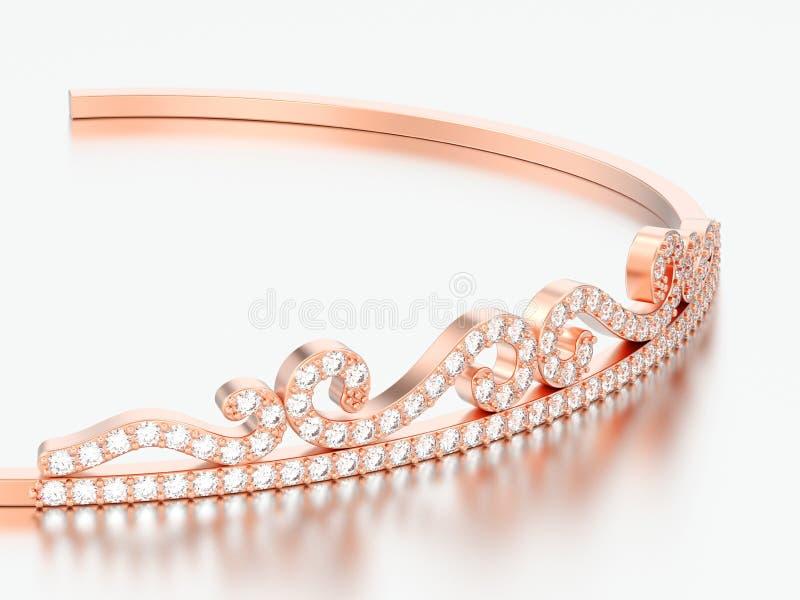 tia simple de diamant de bourdonnement de fin de l'illustration 3D d'or rose haut de macro illustration de vecteur