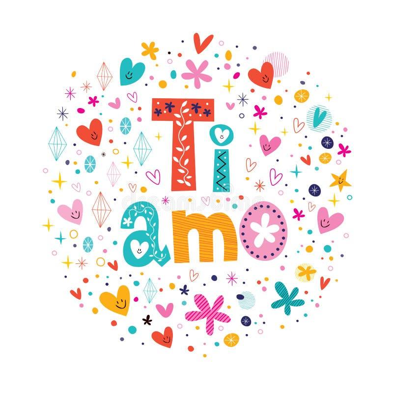 Tiamo ich liebe dich in der italienischen Hand, die romantisches Design beschriftet stock abbildung