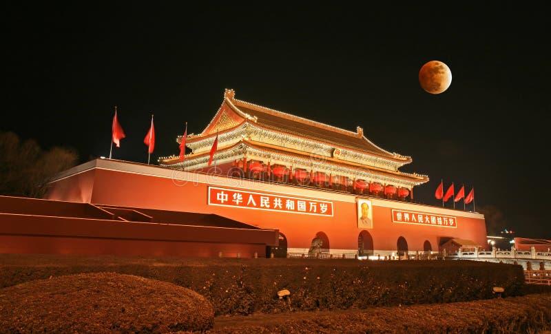 Tian-An-Menquadrat und Mondeklipse lizenzfreies stockfoto