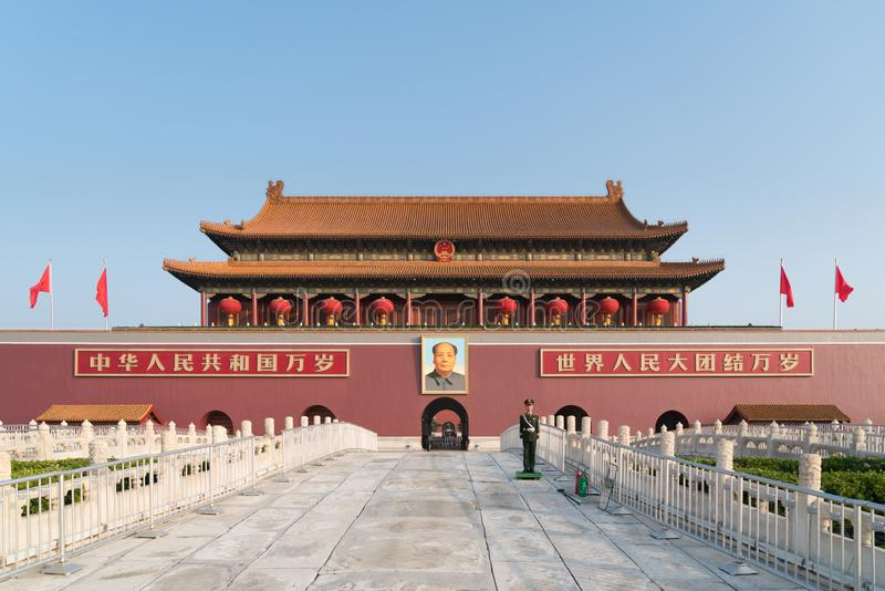 Tiananmen gate in Beijing, China. Chinese text on the red wall reads: Long live China and the unity of all peoples in the world stock image