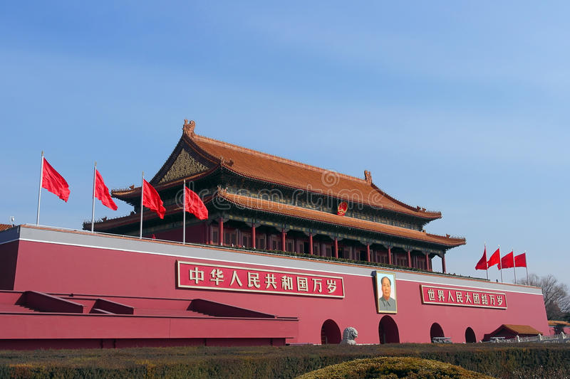 The Tiananmen gate entrance into the Forbidden City in Beijing, China royalty free stock photo