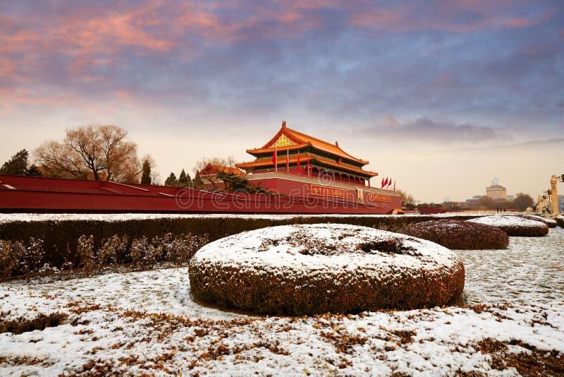 Tiananmen and snows, Beijing. Tiananmen Rostrum in sunset snow, Beijing, China stock images