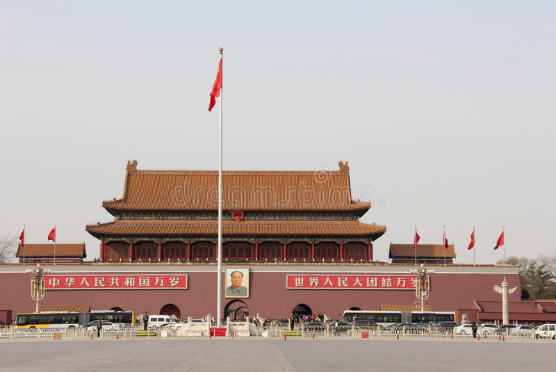 Tiananmen square of China stock photography